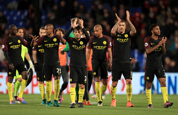 Manchester City player react after the final whistle during the Premier League match at Selhurst Park, London. (Photo by John Walton/PA Images via Getty Images)